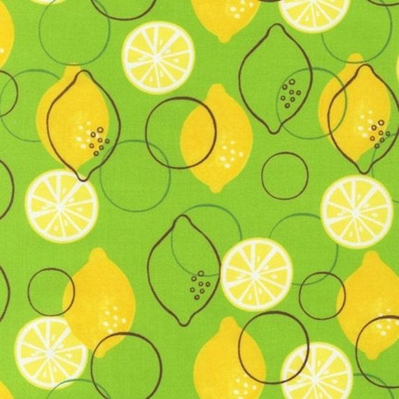 Metro Market Fabric by Robert Kaufman, Metro Lemons in Green-Fat Quarter