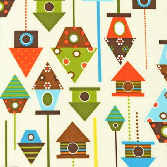 NEW Urban Zoologie and Remix Fabric by Ann Kelle for Robert Kaufman, Birdhouses in Bermuda-Fat Quarter