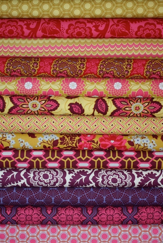Heirloom Fabric by Joel Dewberry for Free Spirit- Garnet Fat Quarter Bundle,  13 total