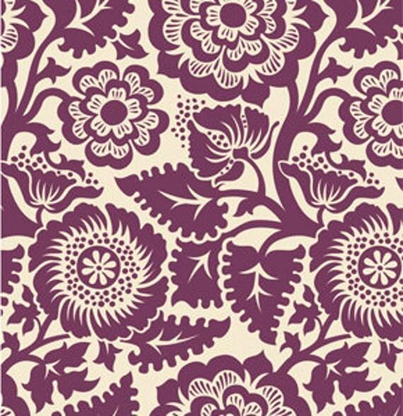 Heirloom Fabric by Joel Dewberry for Free Spirit, Blockade Blossom in Amethyst-1 Yard