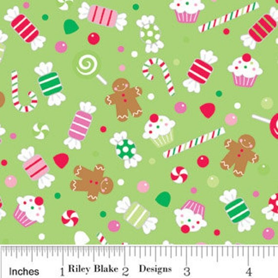 Candy Christmas Fabric by Doodlebug Designs for Riley Blake, Candy Candy in Green-Fat Quarter