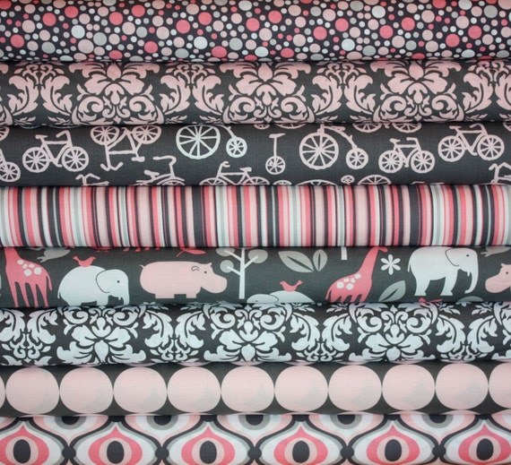 It's A Girl Thing Zoology Fabric by Michael Miller, Fat Quarter Bundle- 8 total