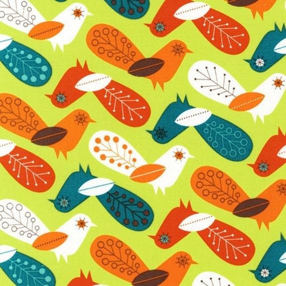 SALE Critter Community Fabric by Suzy Ultman for Robert Kaufman, Critter Birds in Retro-Fat Quarter