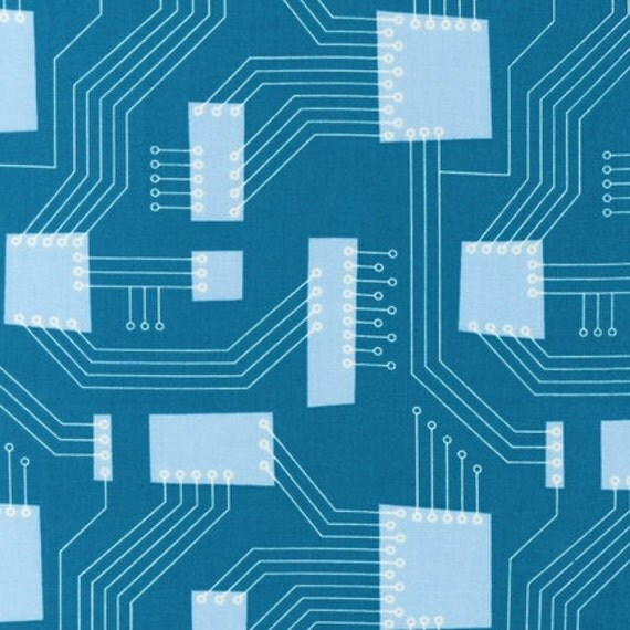 SALE  ORGANIC Robot Factory fabric by Caleb Gray for Robert Kaufman, Circuit Board in Teal-1 Yard