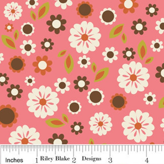 SALE Indian Summer Fabric by Zoe Pearn for Riley Blake, Indian Summer Floral in Pink-1 Yard