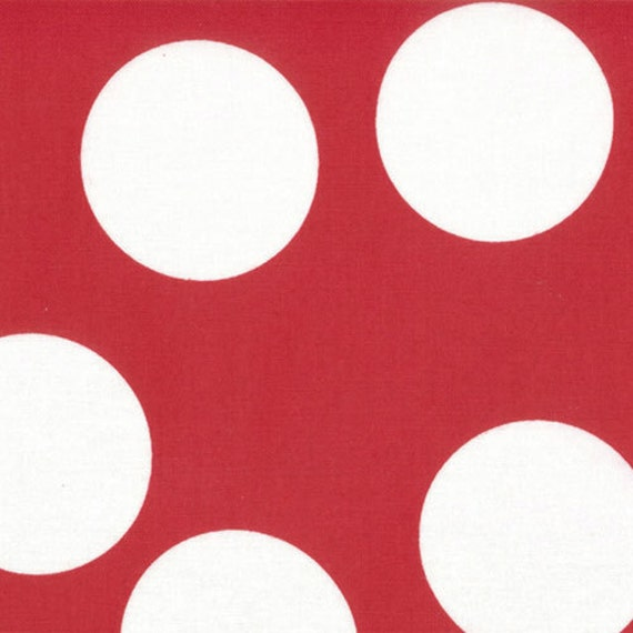 LAST ONE Half Moon Modern fabric by Moda, Large Polka Dot in Ruby-Fat Quarter