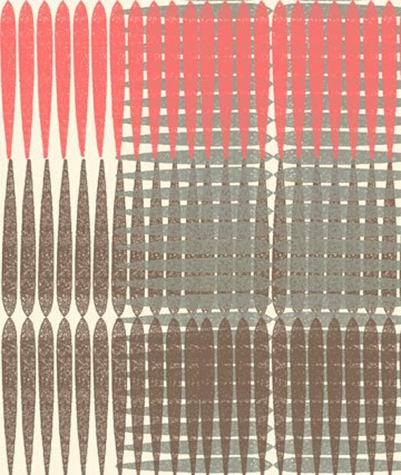 LAST ONE SALE Ty Pennington Impressions 2011 Fabric by Free Spirit, Plaid in Brown-1 Yard
