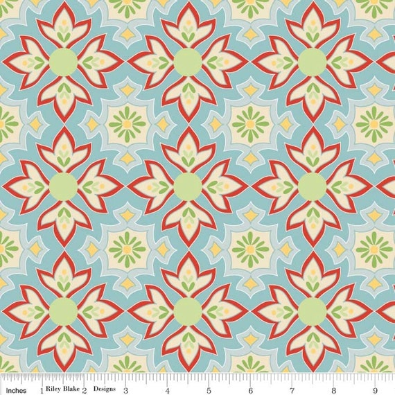 SALE Delighted Fabric by The Quilted Fish for Riley Blake Designs, Delighted Mosaic in Blue-1 Yard