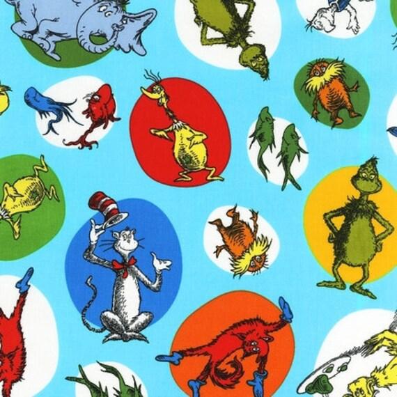 LAST ONE Dr Seuss Fabric by Robert Kaufman, Celebrate Seuss in Celebration-1 Yard