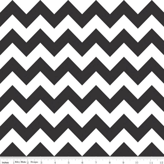 Chevron Fabric by Riley Blake Designs Chevron fabric by Riley Blake, Medium Chevron in Black-Fat Quarter