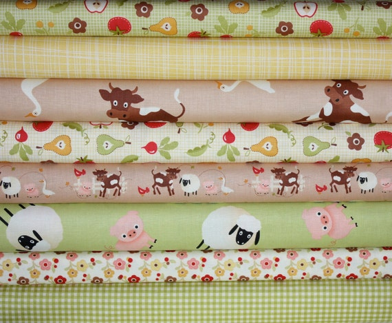 NEW LOOK Farm Fresh Fabric by October Afternoon for Riley Blake Designs- Green & Brown Fat Quarter Bundle, 8 total