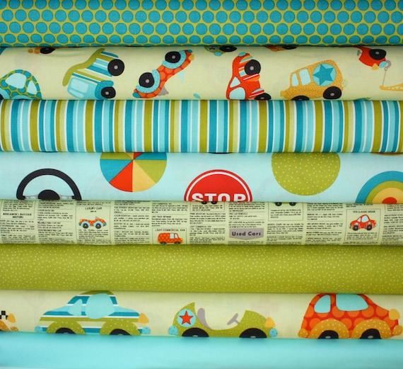 Peak Hour Fabric by Kelly Wulfsohn for Riley Blake- Blue Yard Bundle, 8 total