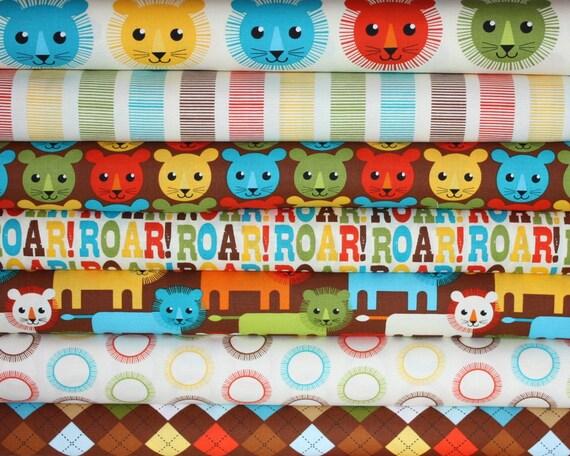 Roar fabric bundle by Print and Pattern for Robert Kaufman -Yard Bundle- 7 total
