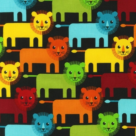 SALE Roar fabric bundle by Print and Pattern for Robert Kaufman, Roar Lion Family in Bright-1 Yard or by the yard