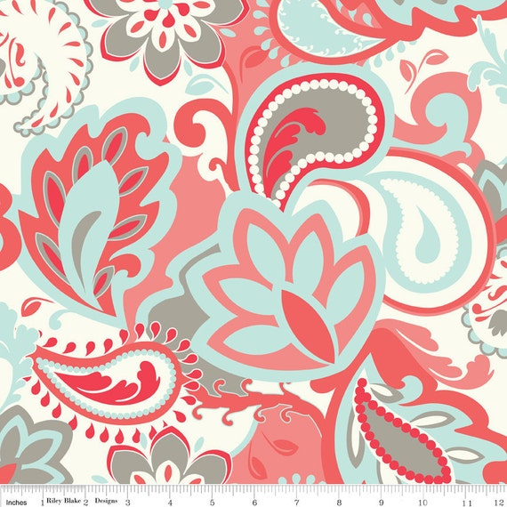 LAST ONE Verona Fabric by Emily Taylor Designs for Riley Blake, Verona Main in Rouge-Fat Quarter