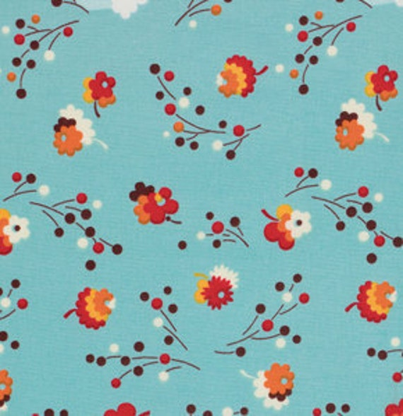 SALE Flea Market Fancy Legacy Collection by Denyse Schmidt for Free Spirit, Posie in Turquoise-1 Yard