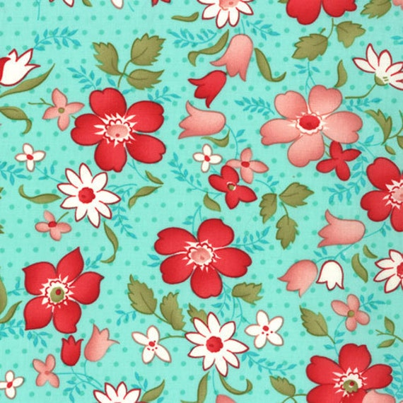Vintage Modern by Bonnie and Camille fabric for Moda, Vintage Floral Main in Sky Aqua-1 Yard