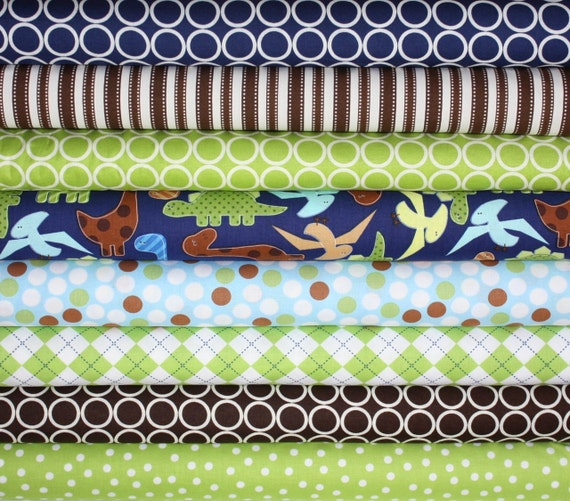 Boy Quilt Dinosaurs Urban Zoologie and Remix Fabric by Ann Kelle for Robert Kaufman-  Fat Quarter Bundle- 8 total