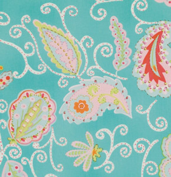 LAST ONE SALE Pretty LIttle Things Fabric by Dena Designs for Free Spirit, Madeleine in Teal-1 yard