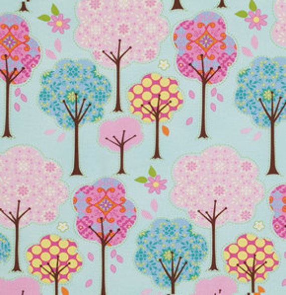 Pretty LIttle Things Fabric by Dena Designs for Free Spirit, Trees in Blue-1 Yard