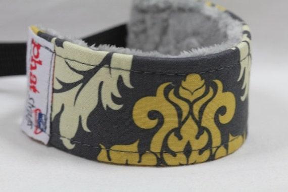 Camera  Wrist Strap / Wristlet/ Wrist Strap DSLR/ Damask in Granite WITH Gray Minky Lining