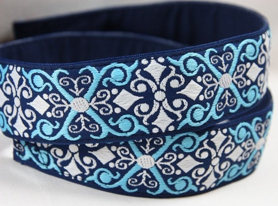 DSLR Camera Straps with Quick Release- Vintage Blue and White Jacquard Camera Neck Strap