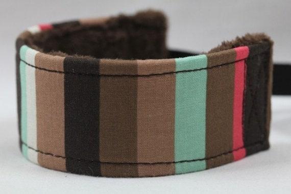 Camera  Wrist Strap - Wristlet- Wrist Strap DSLR-  The Darwin Stripe with Chocolate Minky