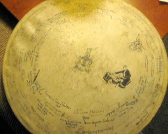 Attention Musicians! Autographed 1920s Big Band Drum Top from Battle Creek Michigan- Vintage Musical Piece