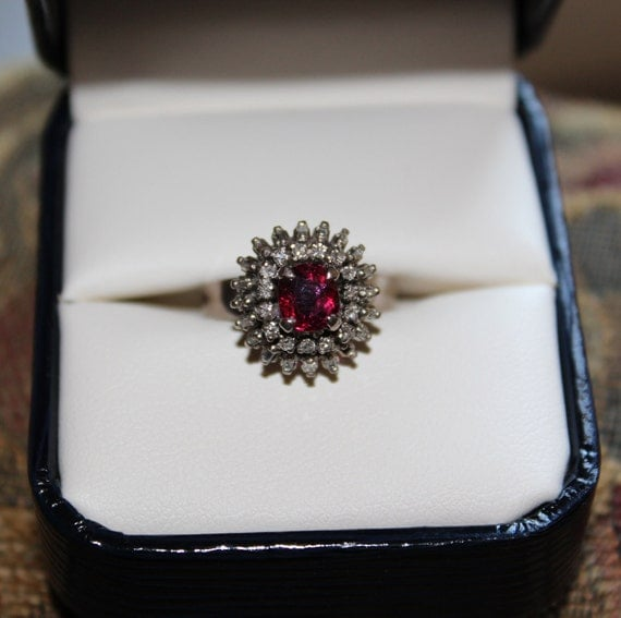 RESERVED FOR FRANK 18k White Gold Ruby & Diamond Cluster Estate Ring