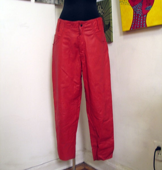 Awesome 1980s Red Leather Pants Never Worn Size 8
