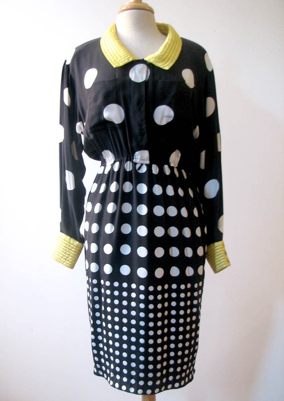 Reserved for Alina Vintage 1980s Fabulous Polka Dot Dress by Louis Feraud SZ 6-8