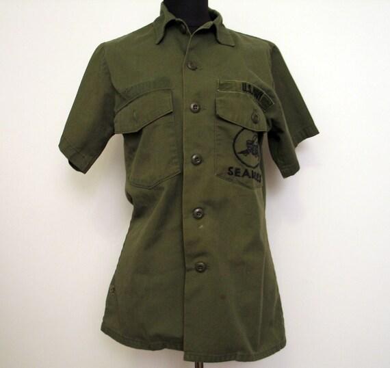 Vintage Seabees U S Navy Khaki Uniform Shirt Size 8