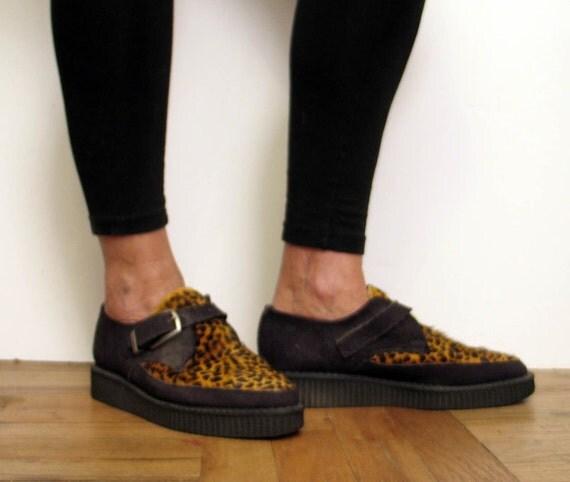 Vintage 1980's Punk Nana Leopard Creepers Shoes London UK Size 9