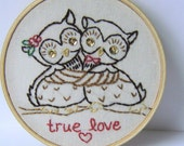 Owls in Love - Framed Embroidery
