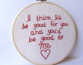 Weezer.  El Scorcho by Weezer. Embroidery hoop art. embroidered lyrics. Pop Culture Embroidery.