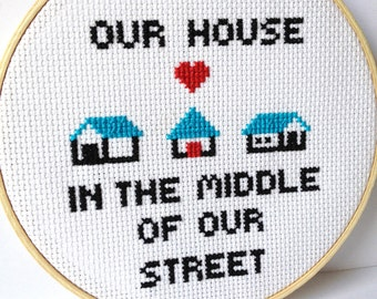 Our House In the MIddle Of Our Street : Madness. cross stitch music lyrics. For 80s music lover.  Embroidery hoop art.