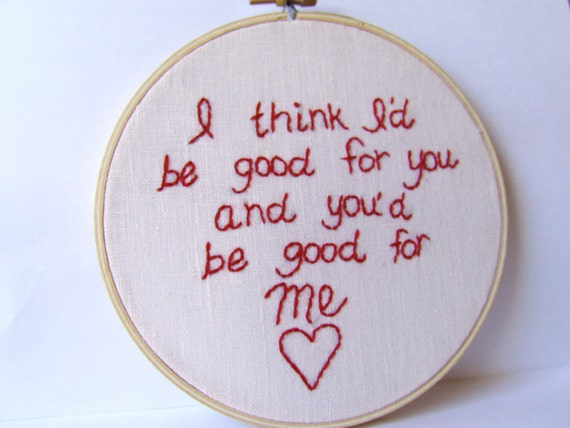 Weezer.  El Scorcho by Weezer. Embroidery hoop art. embroidered lyrics. Pop Culture Embroidery. Ready to ship