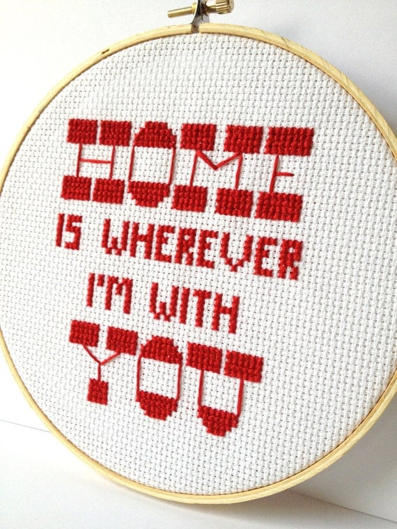 Home is Wherever I'm With You - Embroidered Hoop Art.  Framed Cross Stitch.  Lyric hoop art, wall art. dorm room decor