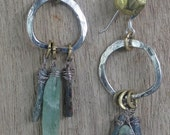 human nature hoop in recycled silver with gray denim and green apple kyanite