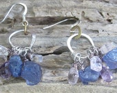 lavender cluster earring in recycled silver with amethyst tanzanite and kunzite