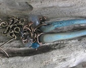 dragonfeather earring in recycled bronze with labradorite and apatite