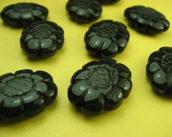 6 Vintage Large Black faceted Lucite  Beads