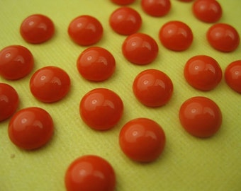 6 Vintage Red Glass 1950s Cabochon Dots
