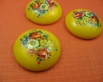 6 Large Vintage Yellow Rose Patterned Flower Cabochon