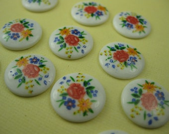 6 Vintage Glass Japanese Floral Cabochons