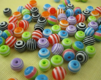 120 Vintage Small Lucite Assorted Stripe Beads (4mm)