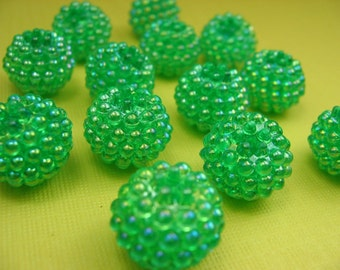 12 Vintage Large Green Berry Lucite Beads