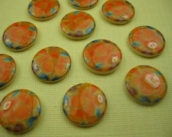 6 Vintage Orange Flower Cabochon