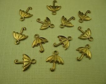 6 Vintage Tiny Brass Umbrella Charms
