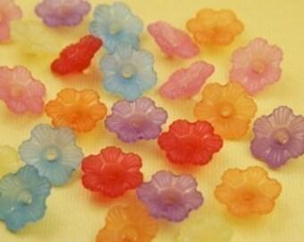 20 Piece Vintage Lucite Bell Flower Bead Mix